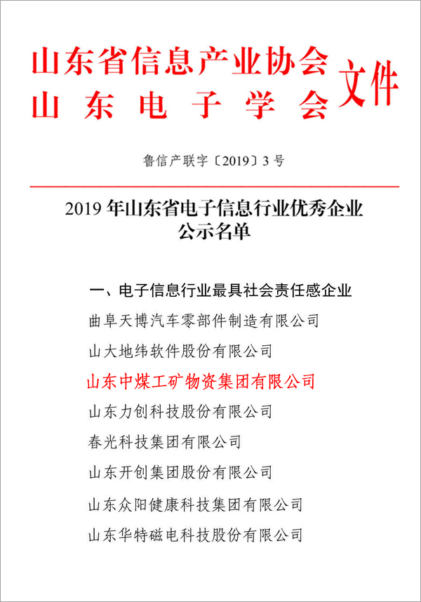 Congratulations To China Coal Group As An Outstanding Enterprise In The Electronic Information Industry In Shandong Province In 2019